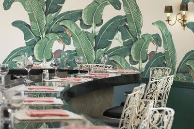 Marvelous Martinique Banana Leaf Wallpaper vs. the Thrill of Brazillance, by Dorothy Draper