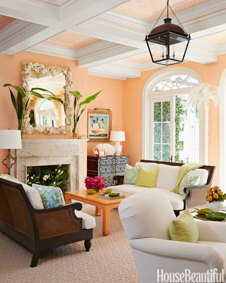 The Expansive Living Room Is Glazed A U201cjuicy Cantaloupe Color That Makes  Everyone Smile,u201d Ashley Sharpe Says. Even The Coffered Ceiling Subtly Picks  Up The ...