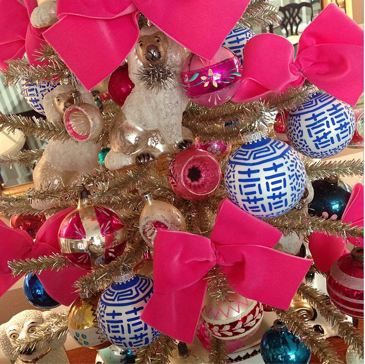 Blue And White Pink Chinoiserie Vintage Christmas Tree Ornament Staffordshire Dog The Glam Pad