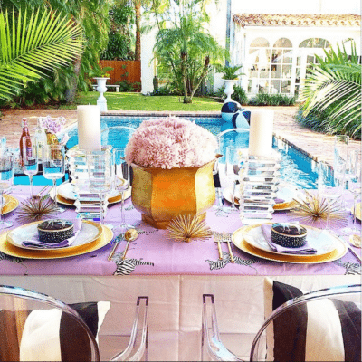 A Purple Palm Beach Shower by Luxe Report Designs