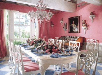 Carleton Varney Pink Dining Room Staffordshire Dogs The Glam Pad