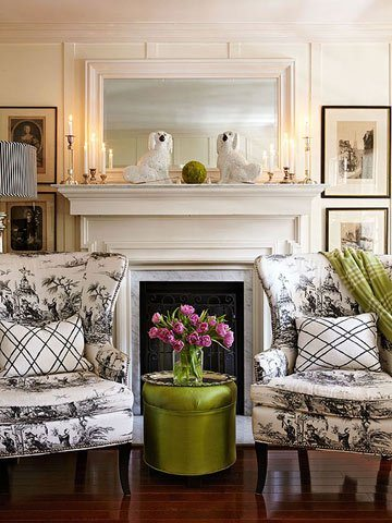 White Fireplace Black Mantel