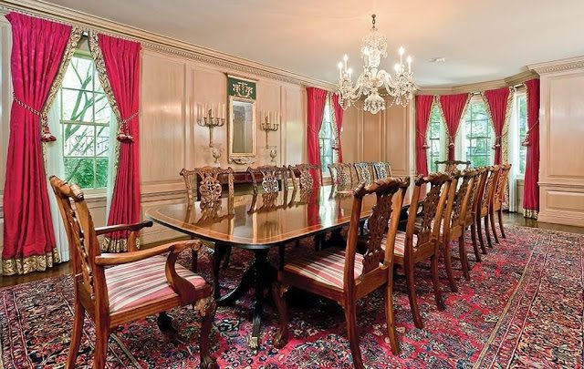 Old school dallas chic the glam pad for Traditional red dining room