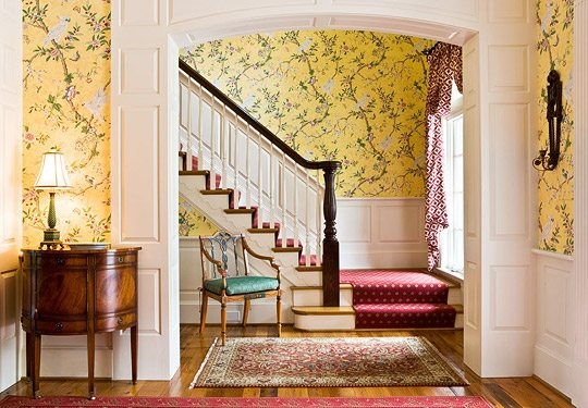 Yellow Foyer Ideas : A colorful and traditional southern home the glam pad