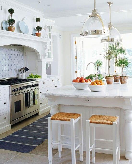 White Marble Kitchen Blue Tile Backsplash The Glam Pad