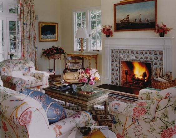 Delft Tile Fireplace Chintz Sofa Chairs, Delft Fireplace Tiles