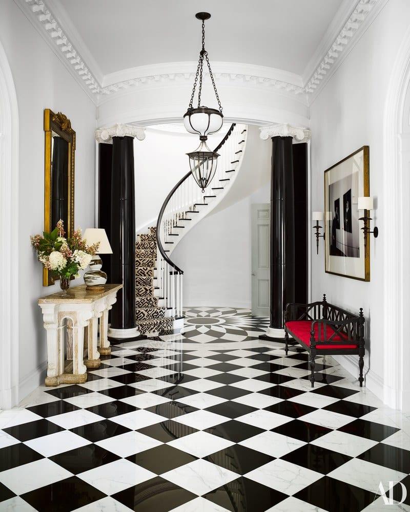 black-white-marble-tile-spiral-staircase-art-deco-david-adler - The ...
