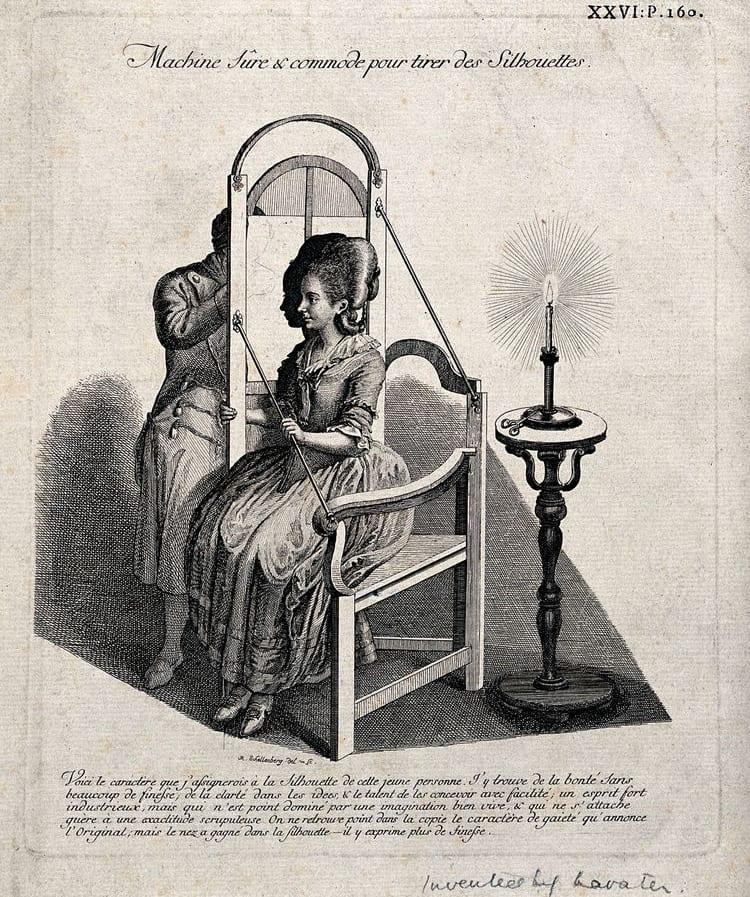 Sketch of Gilles-Louis Chrétien's physiognotrace by Johann Rudolph Schellenberg