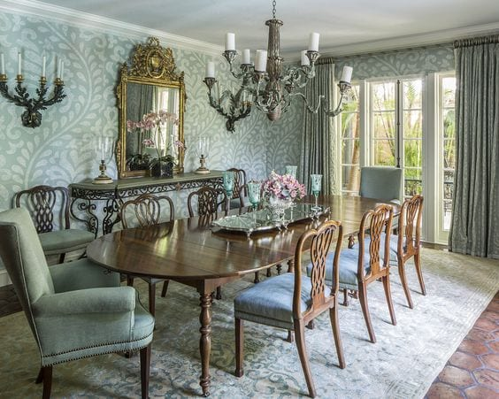 blue-traditional-dining-room-mahogany-table-chairs