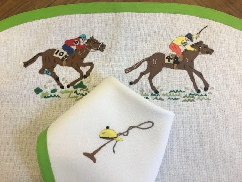 patricia-altschul-kentucky-derby-placemats-napkins-embroidery-equine-horses-equestrian-luzanne-otte-leron-linens