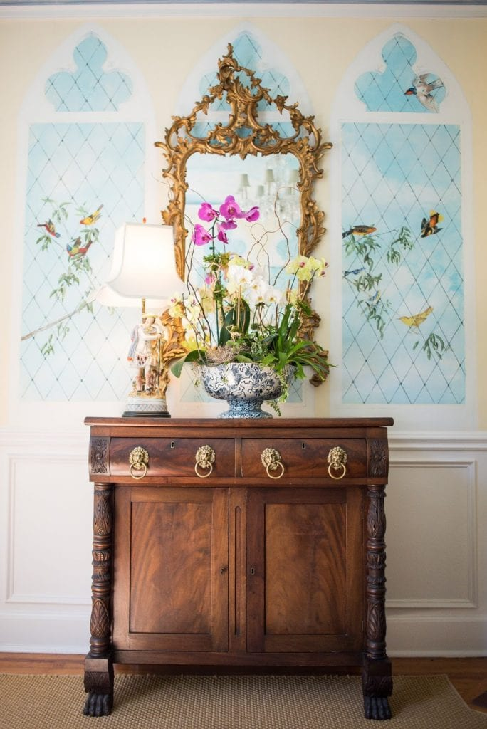 hand-painted-murals-birds-antique-furniture-staffordshire-lamp