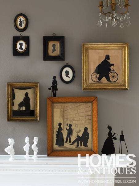 homes-and-antiques-mantel-silhouettes-crystal-sconces