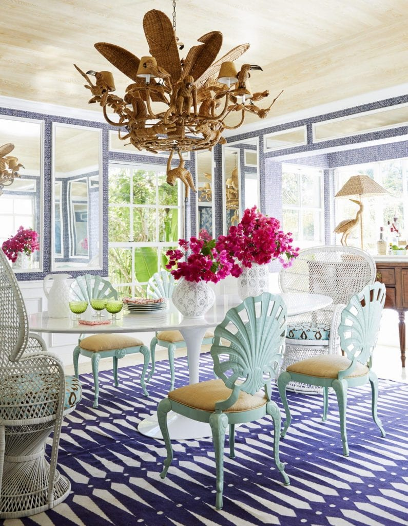 amanda-lindroth-designs-island-book-review-hopping-haven-hill-lyford-cay-nassau-bahamas-mario-lopez-torres-monkey-chandelier-wicker-peacock-chairs-shell-back-knoll-saarinen-tulip-dining-table