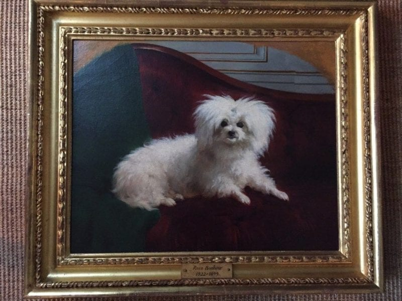 poodle-powder-room-patricia-altschul-architectural-digest-lee-jofa-althea-hollyhock-chintz-charleston-mansion-south-carolina-la-chaise-percée-luzanne-otte-gracie-wallpaper-french-toilet-perfume-powder-room-rose-bonheur-portrait