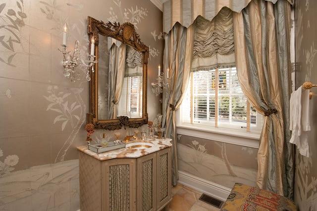 elegant-powder-room-chinoiserie-hand-painted-wallpaper-marble-vanity-silk-curtains