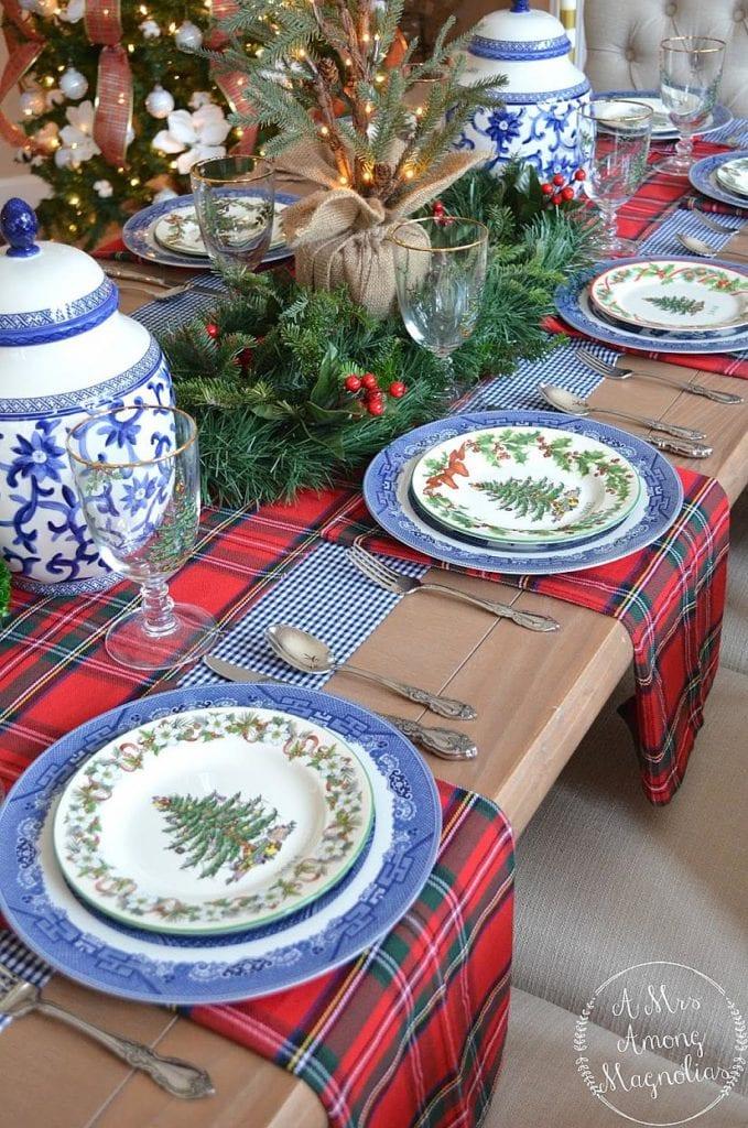 Blue And White Christmas Ginger Jar Christmas Tree Spode Buffalo Check Tartan Plaid The Glam Pad
