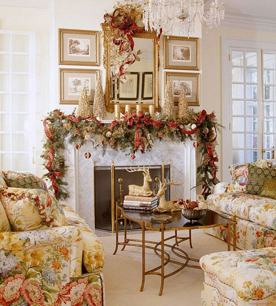 Traditional Home Christmas Home House Decor Decoration Design Ideas Chintz Fireplace Mantel Garland The Glam Pad