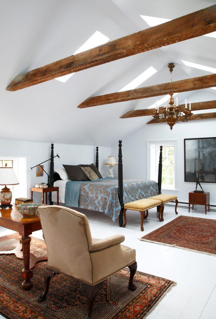 master-bedroom-vaulted-ceilings-beams - The Glam Pad