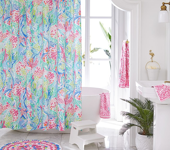 Lilly Pulitzer Mermaid Cove Shower, Lilly Pulitzer Inspired Curtains