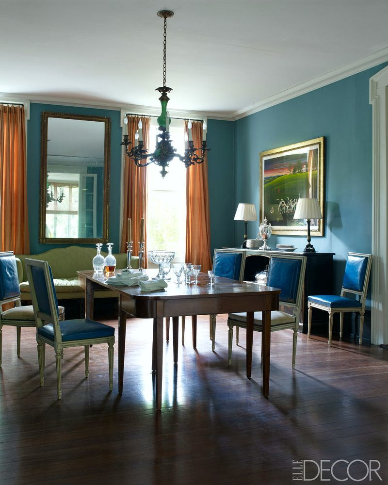 Julia Reed House Elle Decor Dining Room Peacock Blue French Chairs Antiques New Orleans The Glam Pad