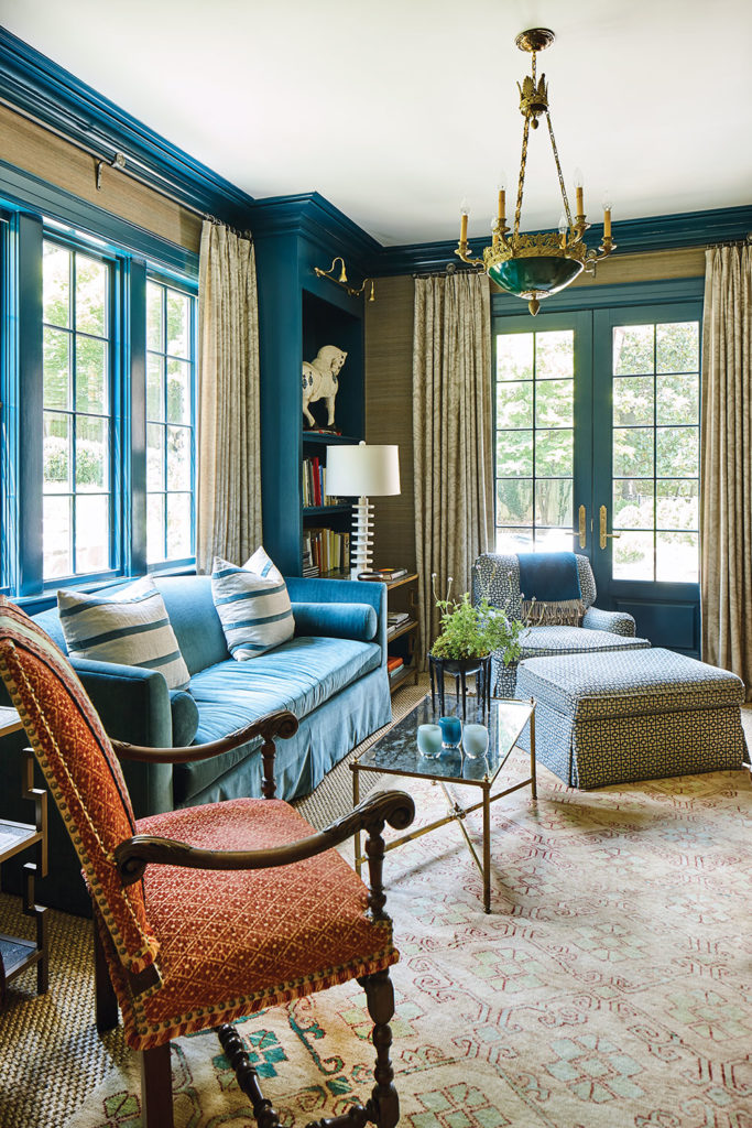 Patti B Flower Magazine Peacock Blue Lacquered Paint Family Living Room Velvet Sofa The Glam Pad
