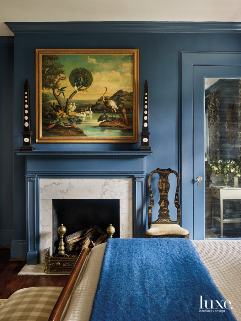 Farrow and Ball Stiffkey Blue paint chinoiserie antique chair ...