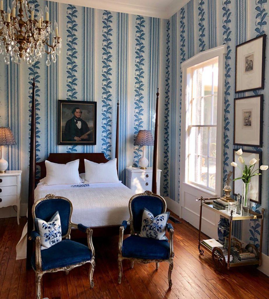 Quadrille Climbing Hydrangea Wallpaper Blue White Bedroom