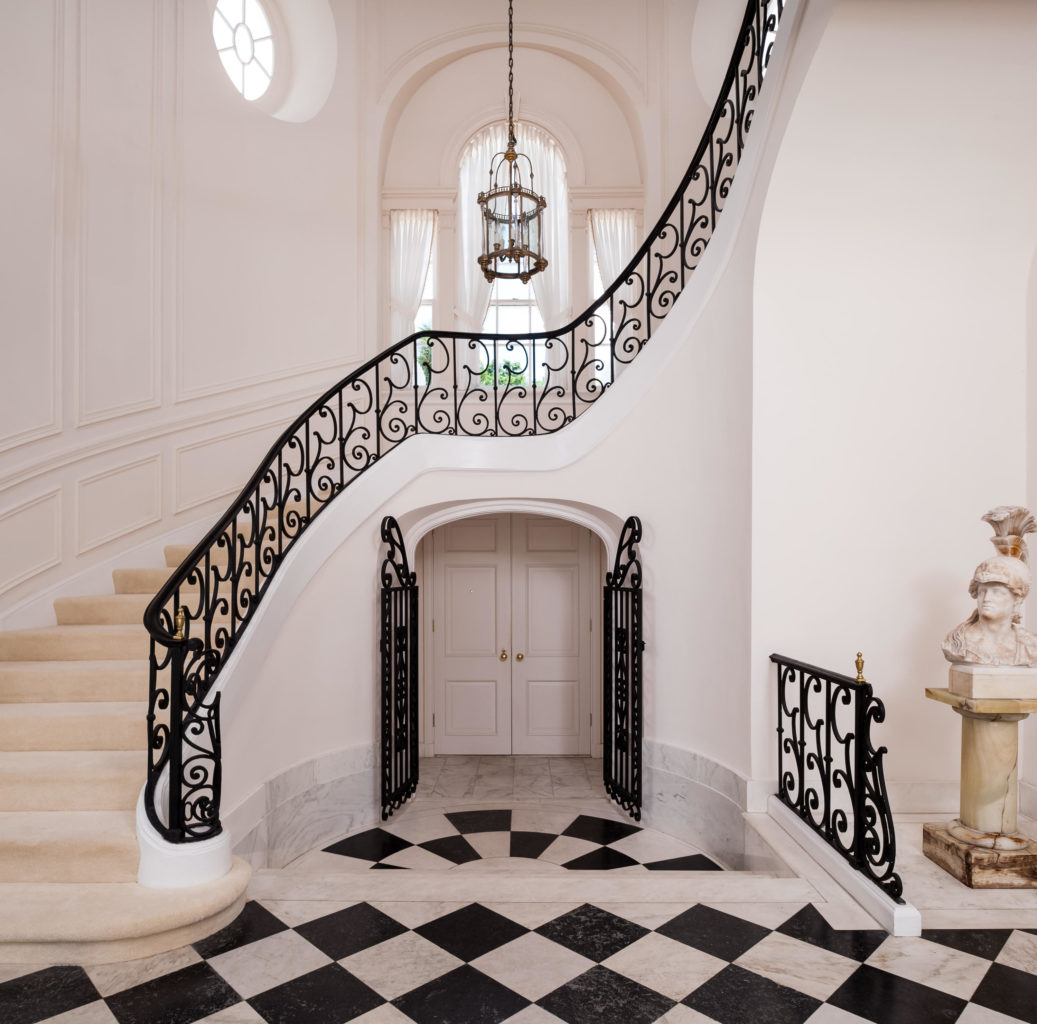 Southways Palm Beach Estate Historic Entrance Hall Staircase Black White Marble Floor The Glam Pad