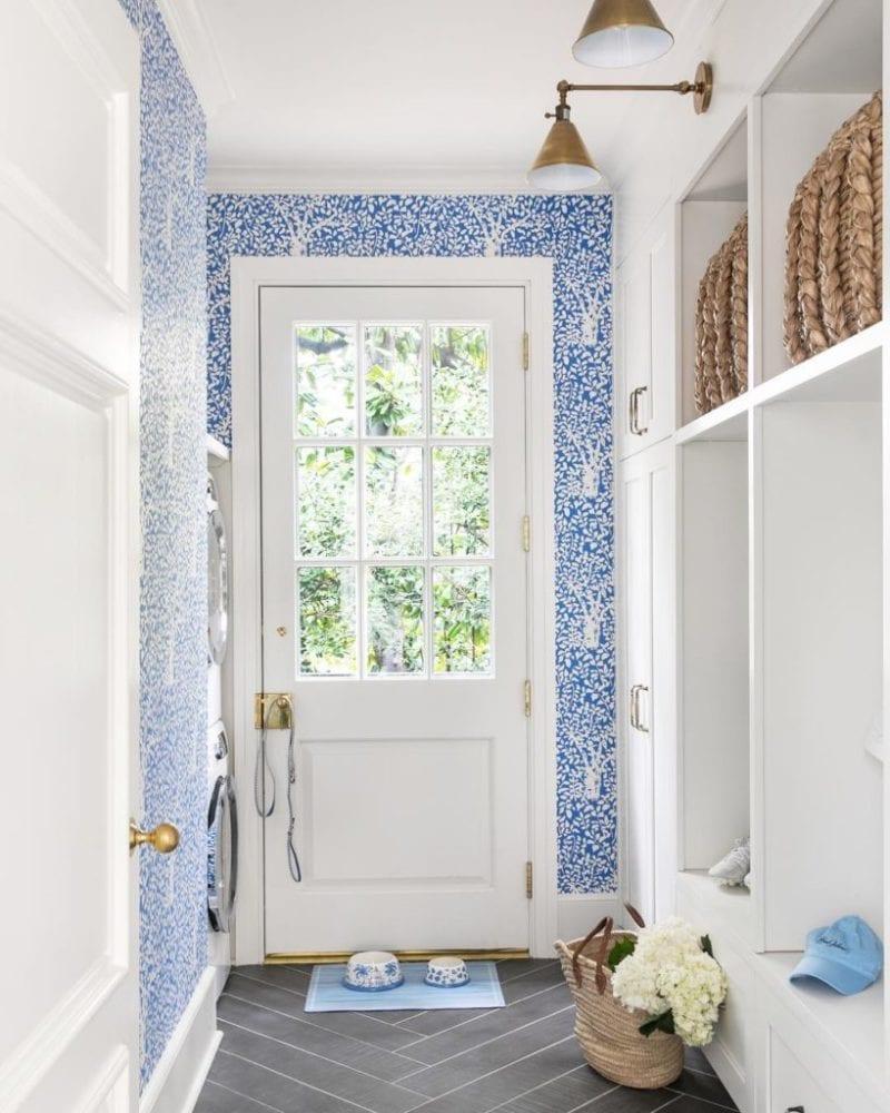 quadrille arbor de matisse blue white wallpaper mudroom laundry ...