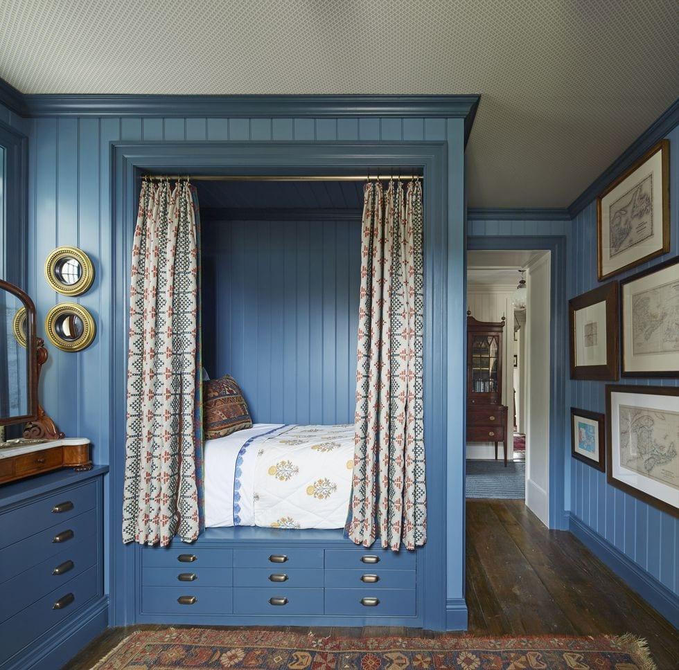 Benjamin Moore Georgian Green philip-mitchell-blue-bedroom-nova-scotia-veranda-sleeping