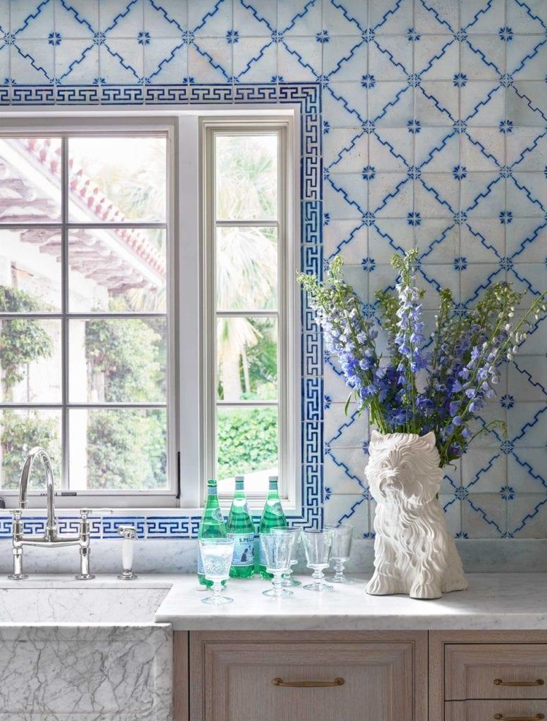 Ellen Kavanaugh 19th Century Portuguese Tile Kitchen Reclaimed Blue White Kitchen Carrara Marble Jeff Koons Puppy Vase The Glam Pad