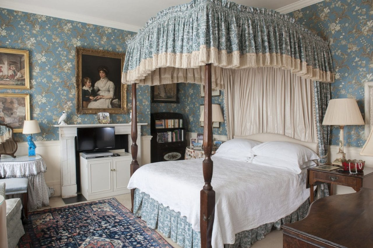 English Bedroom French Wallpaper Canopy Bed The Glam Pad