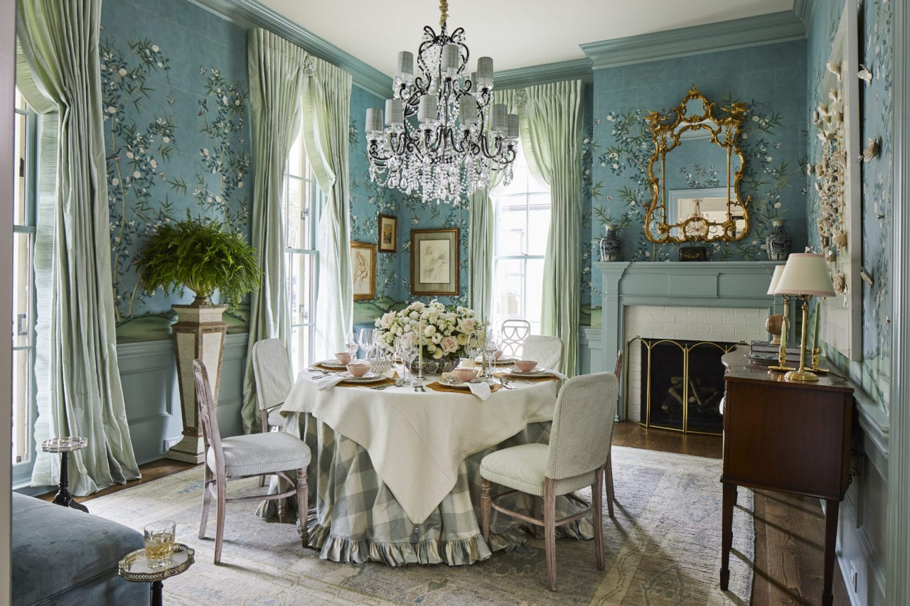 Nashville Show House Southern Living Becky Boyle Dining Room Gracie Wallpaper Handpainted Chinoiserie Hand Painted Blue Bamboo Cowtan Tout Blue White Buffalo Check Table Skirt Ruffled Crystal Chandelier Swans Of Fifth Avenue