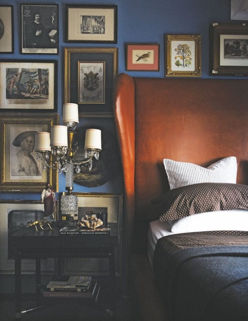 Masculine Bedroom Boy Bed Room Decorating Ideas Leather Headboard Navy Blue Painted Walls Gallery Art The Glam Pad