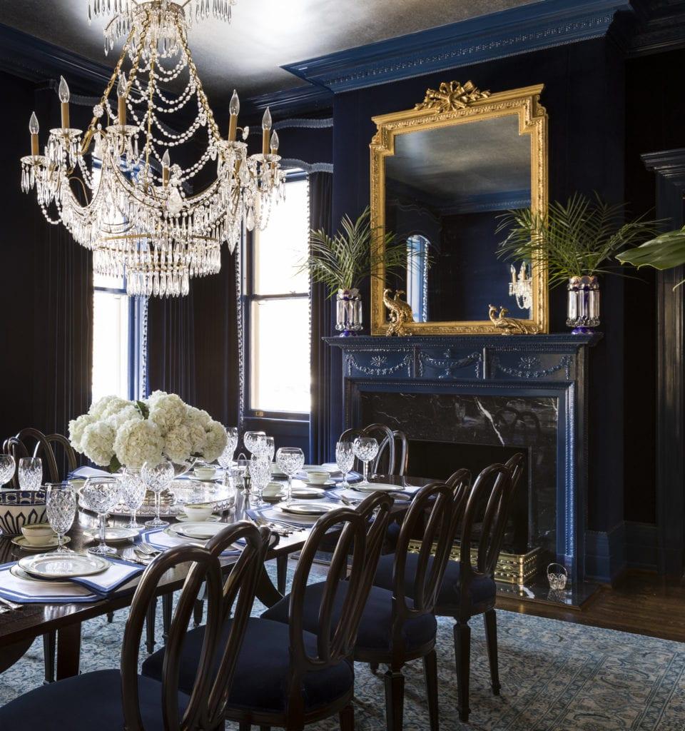 Shazalynn Cavin Winfrey Elegant, Blue Dining Room
