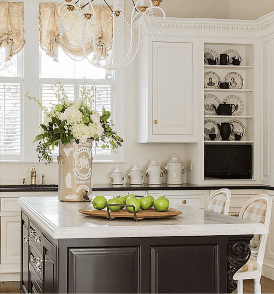 Jackie Whalen Interiors White Marble Kitchen Black Painted Island The Glam Pad