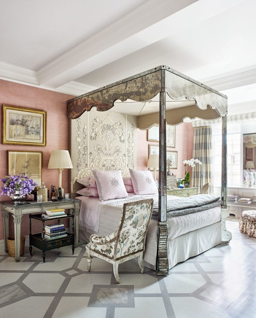 - Bunny-williams-pink-bedroom-mirrored-canopy-bed-silver-tea-paper