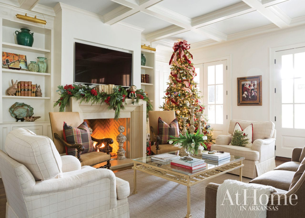Jeremy Carter Interior Design At Home Arkansas Christmas Holiday Decor Decorations Traditional Classic Style Family Room Garland Mantel Stockings The Glam Pad