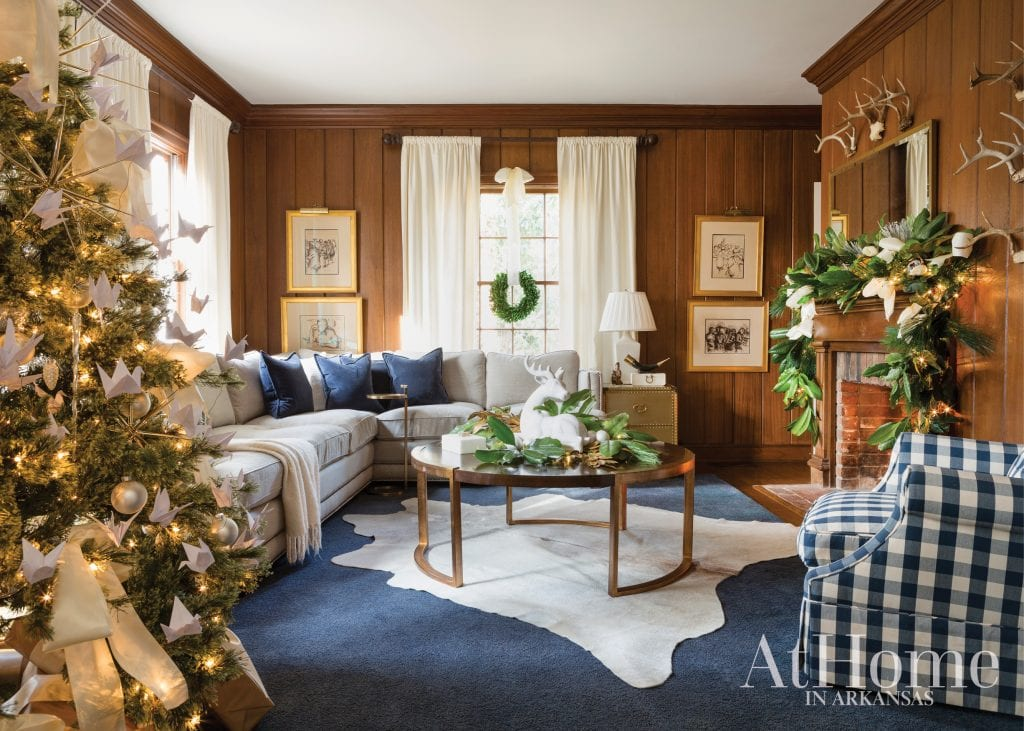 Wood Paneled Library Living Room Buffalo Check Plaid Chair Blue And White Family Room Christmas Tree Holiday Decor The Glam Pad