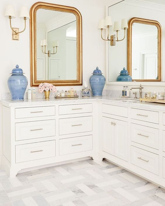 Caitlin Wilson L Shaped Master Bathroom Vanity Sink Dressing Table The Glam Pad