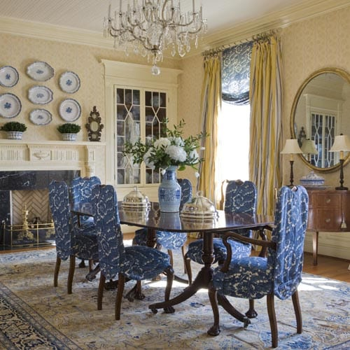 Decorating With Hanging Plates On Wall Dining Room Blue And White Traditional The Glam Pad