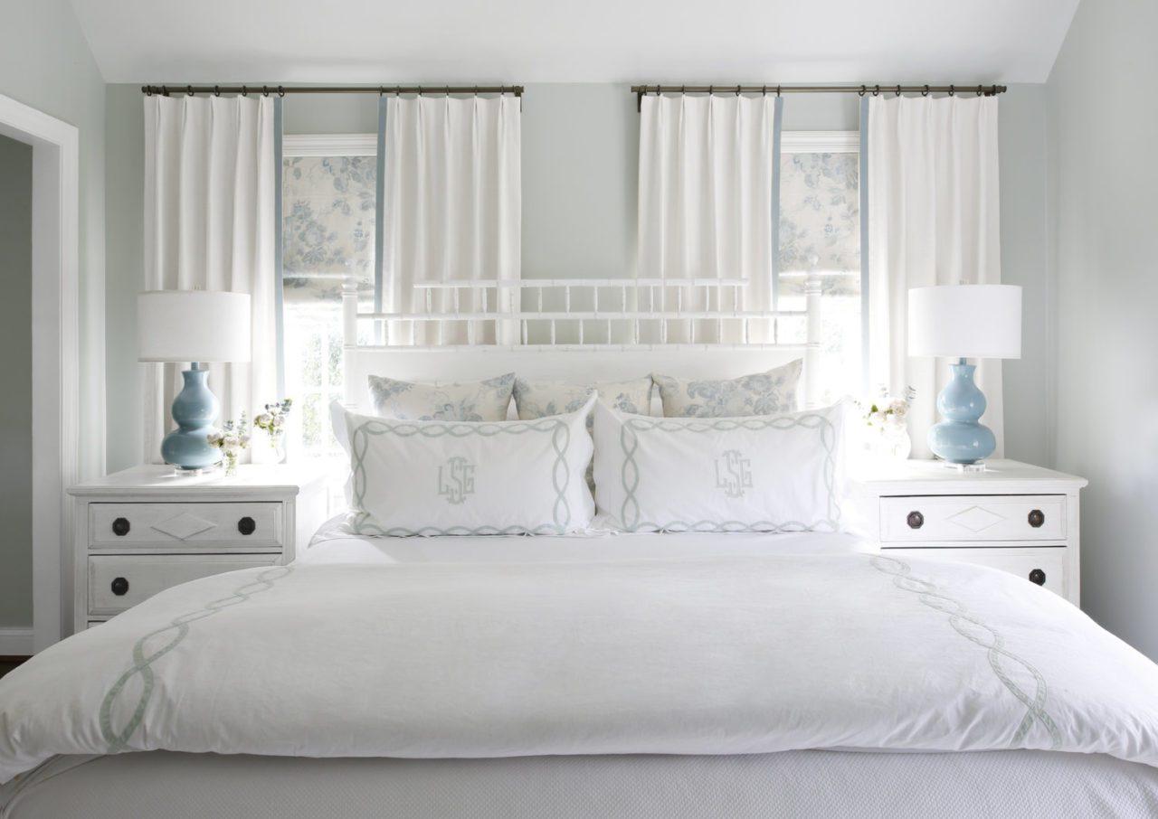 Tori Alexander Interiors Blue White Bedroom Monogrammed Linens Pillow Shams The Glam Pad