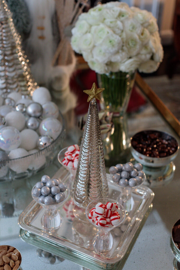 Stephanie Booth Shafran Youre Invited Holiday Christmas Entertaining Tips Guide Peppermints Silver Serving Tray Ornaments The Glam Pad